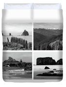 Black And White Olympic National Park Collage Duvet Cover