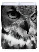 Black And White Owl Painting Duvet Cover