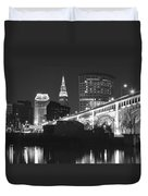 Black And White Panorama Of Cleveland Duvet Cover