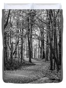 Black And White Path In Autumn  Duvet Cover