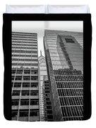 Black And White Philadelphia - Skyscraper Reflections Duvet Cover