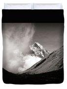 Black And White Photo Of Snow Peak In Nepal Duvet Cover