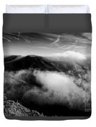 Black And White Photograph Of Fog Rising In The Marin Headlands - Sausalito Marin County California Duvet Cover