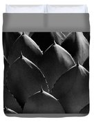 Black And White Photographic Detail Of California Cabbage Cactus Agave Duvet Cover