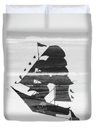 Black And White Pirate Ship Against The Sea And Crushing Waves. Double Exposure Duvet Cover
