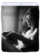 Black And White Portrait Of A Sexy Woman In Large Reading Glasse Duvet Cover