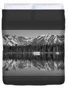Black And White Reflection On Jackson Lake Wyoming Duvet Cover
