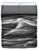 Black And White River Water Abstract  Duvet Cover