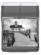 Black And White  Roanoke Lighthouse Duvet Cover