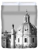 Black And White Rooftop In Rome Duvet Cover