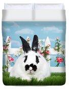 Black And White Spring Bunny Duvet Cover