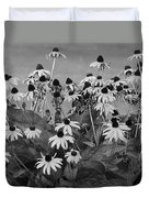 Black And White Susans Duvet Cover