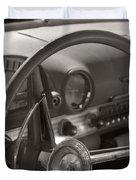 Black And White Thunderbird Steering Wheel  Duvet Cover