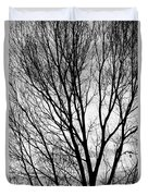 Black And White Tree Branches Silhouette Duvet Cover