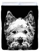 Black And White West Highland Terrier Dog Art Sharon Cummings Duvet Cover