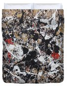 Black And White With Red And Gold Duvet Cover