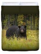 Black Bear In The Grass Duvet Cover