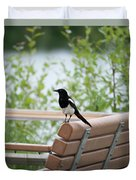 Black-billed Magpie Pica Hudsonia Duvet Cover