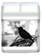 Black Bird Bw Duvet Cover