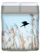 Black Bird In Cat Tails Duvet Cover