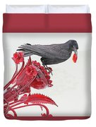 Black Bird Red Silicate Glass Flowers Gray Background 2 8282017  Duvet Cover