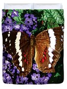 Black Butterfly On Heliotrope Duvet Cover