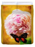 Black Butterfly On Peony Duvet Cover