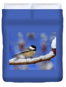 Black-capped Chickadee In Sumac Duvet Cover