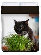 Black Cat Eating Cat Grass Duvet Cover
