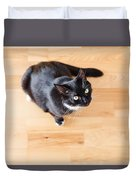 Black Cat Looking At You Duvet Cover