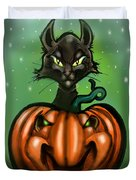 Black Cat N Pumpkin Duvet Cover