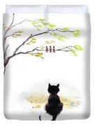Black Cat Painting Duvet Cover