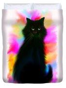 Black Cat Rainbow Sky Duvet Cover