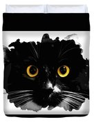 Black Cat, Yellow Eyes Duvet Cover