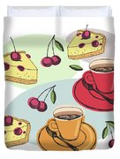 Black Cherry Pie And A Steaming Hot Cup Of Coffee Duvet Cover