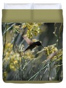 Black Chinned Hummingbird In Flight Duvet Cover
