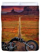 Black Chopper At Monument Valley Duvet Cover