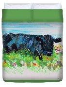 Black Cow Lying Down Painting Duvet Cover