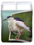 Black Crowned Night Heron - Use Red-cyan 3d Glasses Duvet Cover