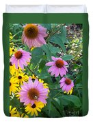 Black Eye Susans And Echinacea Duvet Cover