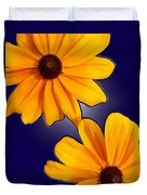 Black-eyed Susans On Blue Duvet Cover