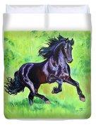 Black Friesian Horse Duvet Cover