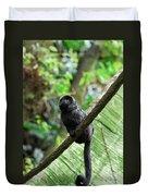 Black Goeldi's Marmoset Sitting On The Vine Duvet Cover
