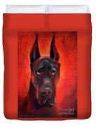 Black Great Dane Dog Painting Duvet Cover