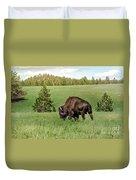 Black Hills Bull Bison Duvet Cover by Robert Frederick