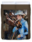 Black Horse And Cowgirl   Duvet Cover