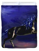 Black Horse At Night Duvet Cover