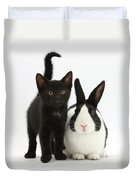 Black Kitten And Dutch Rabbit Duvet Cover