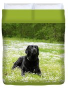 Black Lab Laying In A Field Duvet Cover