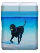 Black Labrador Painting Duvet Cover
